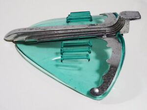 ART DECO hood ornament SKYSCRAPER chrome AQUA LUCITE unique VNTG