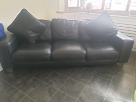 FREE black leather 2 seater and 3 seater couch