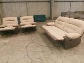 New cream / beige suede recliner 3 +1+1 seater sofa suite