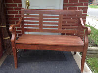 Solid wood entrance bench
