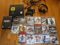 Playstation 3  PS3 Bundle 22 games, wireless remotes, headset...