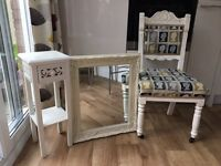 Vintage chair, mirror and side unit