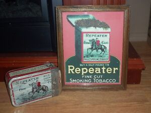 ANTIQUE REPEATER TOBACCO TIN W/ SIGN