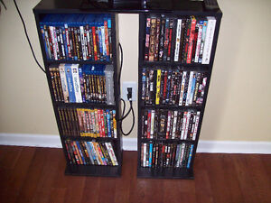 250 plus DVD, Blue Ray & 4 wood stands