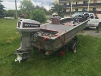 16 foot fishing boat with a 60 hp evinrude