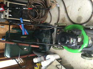 $450 Lawnboy lawnmower, wheel barrow and  weed  whacker