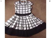 Girls Winter White & Black Check Dress Size 134-148cm
