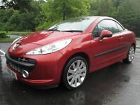 07/07 PEUGEOT 207 1.6 GT CC COUPE IN MET RED WITH ONLY 70,000 MILES