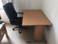 Large study study/office table and executive leather chair