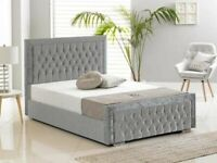 DESIGNER FURNITURE-Double Size Plush Velvet Heaven Bed in grey color-- Frame W Optional Mattress♨