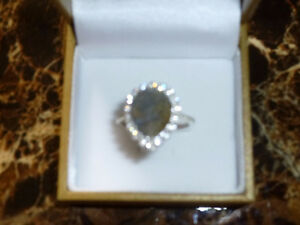 Mothers Day Gift - Natural Labradorite White Topaz Ring -Size 8