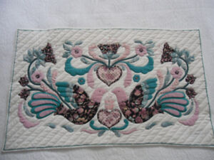 quilted wall hanging - antique needlepoint - antique plates