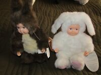 """Anne Geddes 2 brand new 8"""" Baby Bunny & Squirrel dolls."""