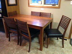Teak dining room table with 6 chairs