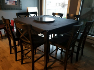 Bar Height 8 Chair Dining Room Table