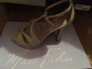 Marc Fisher nude patent heels