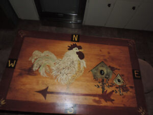 1800s Primitive One drawer Folk art painted kitchen table