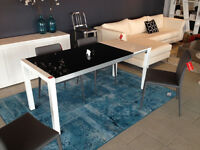 ENIGMA DINING TABLE high gloss white, black glass 70% OFF