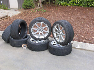 4 low profile tires with rims & 3 winter tires without