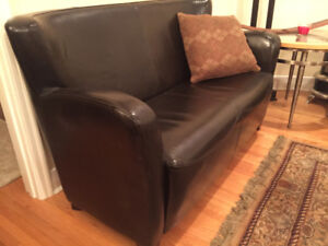 leather settee and Ottoman