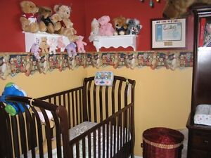 Mahogany Crib and Changing Table Wall Unit with Drawers West Island Greater Montréal image 1