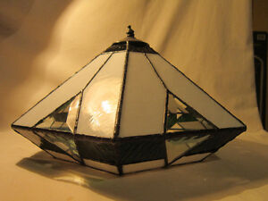 Stained Glass - Lamp Shade with Finial (Green, White & Clear)