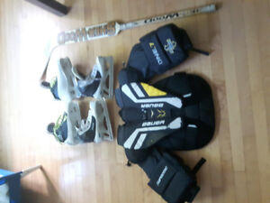 Goalie gear for sale.