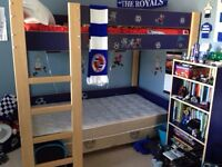 IKEA loft/bunk bed with matching dressers and shelf unit