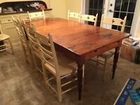 Antique Canadian Pine Harvest Table