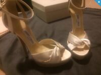 Worn once Jimmy Choo ivory bridal heels sandals shoes uk 4 37