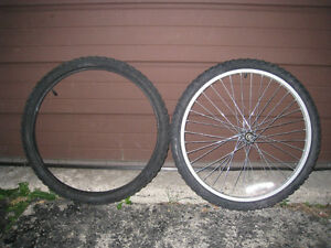 """Almost new 1 Bike Front Alloy 24"""" Wheel 1.95"""" tire+matching tire"""