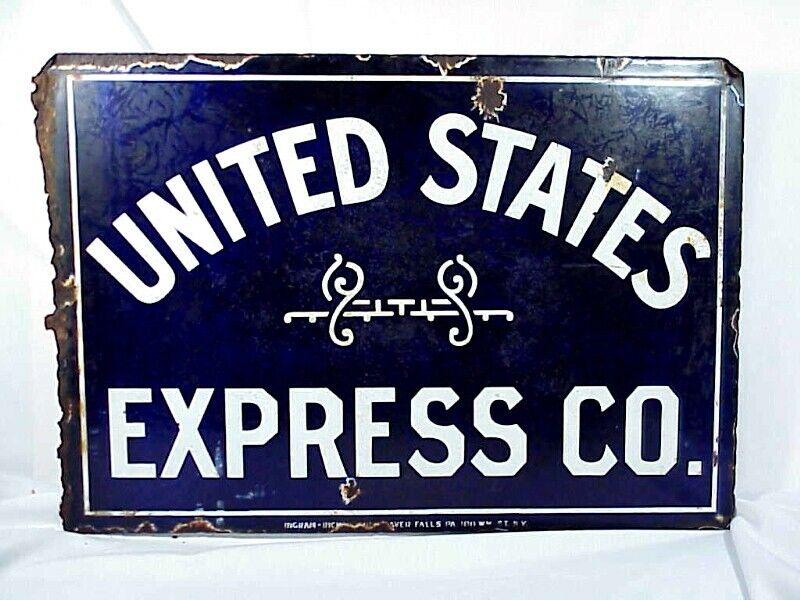 UNITED STATES EXPRESS CO. Porcelain Sign 1854-1914