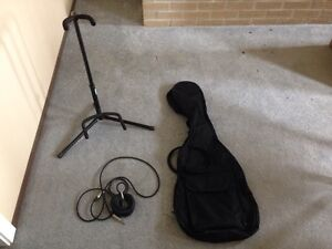 Guitar stand, patch chord, soft guitar case