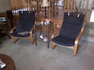 2 Blue Ikea Chairs and ottomans