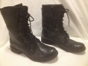 New Hush Puppy Waterproof Black Leather Combat Style Boots 7M
