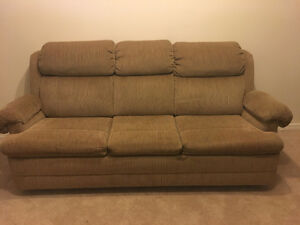 Beige pullout couch $50.00 OBO