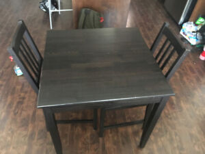 IKEA Small black kitchen table and two matching chairs $40