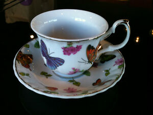 Butterfly Patterned Coffee and Tea Set