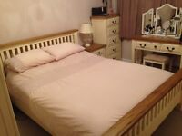 King size bed frame - Oak topped & antique cream solid pine