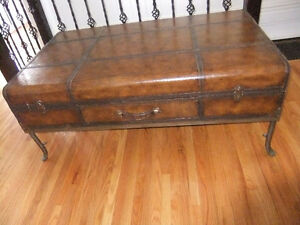 large steampunk luggage style coffee table with drawer