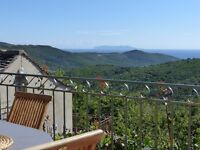Corsica: 7 person comfortable gite in traditional stone house, Cap Corsica, view over maquis and sea