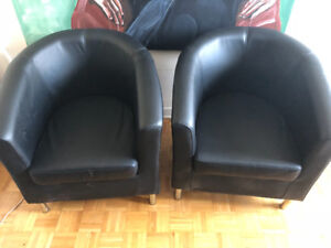 2 Leather IKEA Chairs For Sale!