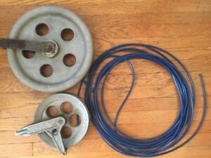 Clothes Line Pulleys and Line , vtg Wright Aluminum
