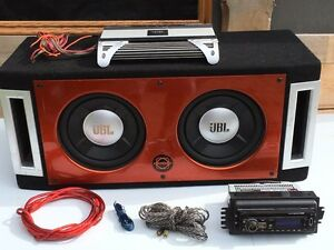 "2  10""JBL Subs With Amp, Wires & Stereo!"