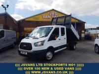2017 17 FORD TRANSIT CREWCAB ALLOY TIPPER TRUCK 9100 MLS ONLY EURO 6 DIESEL