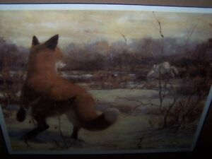 "VALERIE HINZ ""ON THE RUN"" FOX CHASING RABBIT.LIMITED"