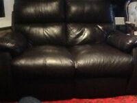 DFS dark brown Manual Recliner leather 2 seater Sofa