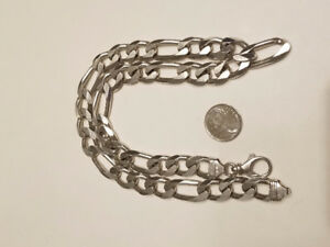 12mm Solid Silver Figaro Chain