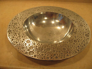 Large Decorative Aluminum Bowl and Platter