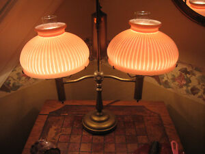 EXQUISITE DOUBLE PINK SHADE LIBRARY/BANKERS LAMP